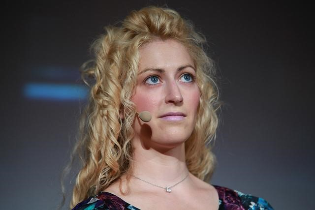 Jane McGonigal on stage at Meet the Media Guru in Milan, Italy, May 2011. Photo by Paolo Sacchi, MMG.