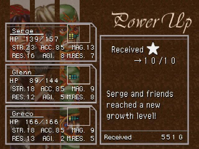 Chrono Cross level up