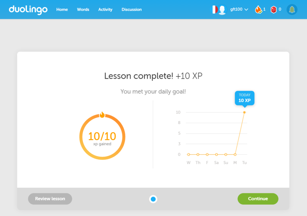 Gameful elements after my first completed lesson at Duolingo.